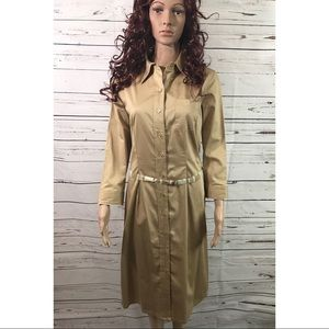 ❤️SALE❤️GAP Midi Tan Shirt Dress Size L NWTS